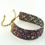 Bracelet ruban fleurs rose et noir
