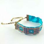 Bracelet ruban fleurs Romance bleu