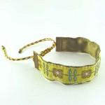 Bracelet ruban fleurs Romance kaki