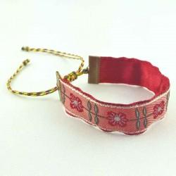 Bracelet ruban fleurs Romance rouge