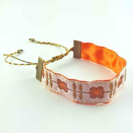 bracelet-ruban-fleur-romance-orange