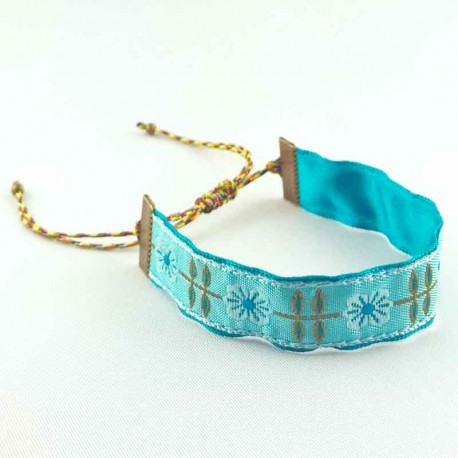 bracelet-ruban-fleur-romance-turquoise
