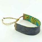 Bracelet ruban cuir gris
