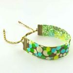 Bracelet ruban Pois vert et bleu