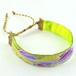 Bracelet ruban Plume mauve