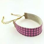 Bracelet ruban Pied de poule rose