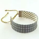 Bracelet ruban Pied de poule gris