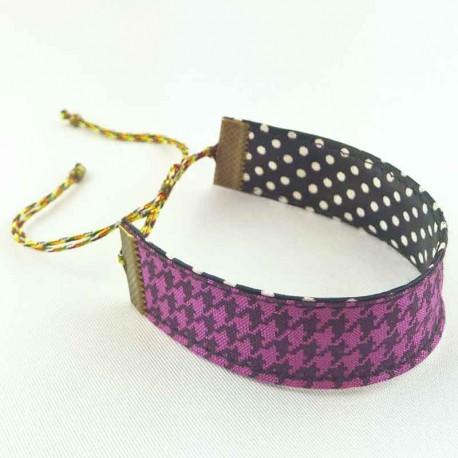 bracelet-ruban-pied-poule-violet