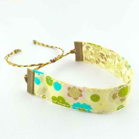 bracelet-ruban-fleur-beige-turquoise