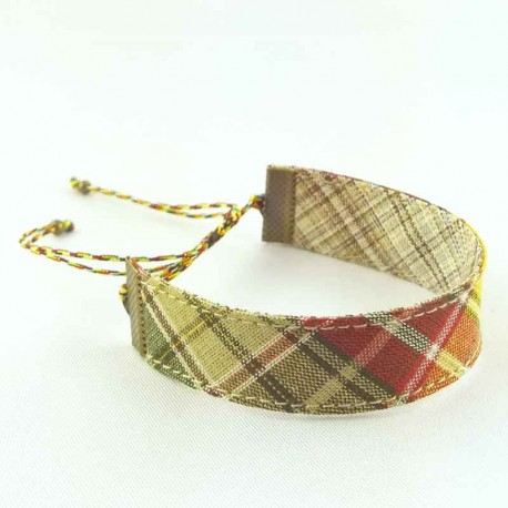 bracelet-ruban-ecossais-marron