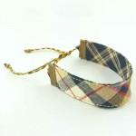Bracelet ruban Écossais beige et noir