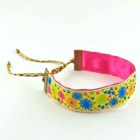 bracelet-ruban-fleur-jaune