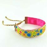 Bracelet ruban fleurs jaune