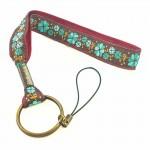 Dragonne porte-clefs fleurs turquoise