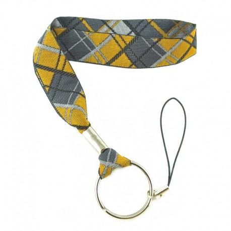 dragonne-porte-clefs-ecossais-gris-jaune