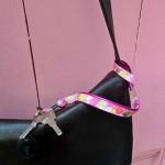 Tour de cou porte-clefs Cœurs rose