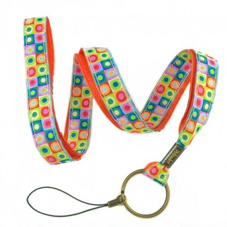 porte-clef-tour-de-cou-pois-multicolore