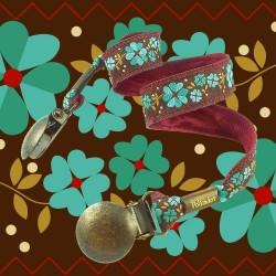 Attache-serviette fleurs turquoise