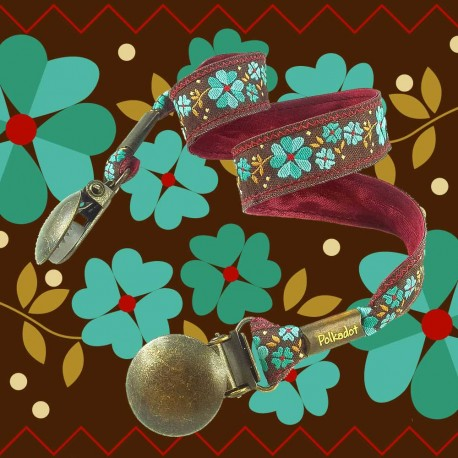 attache-serviette-adulte-fleur-turquoise-motif