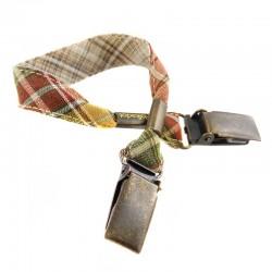Attache-doudou/serviette Écossais beige