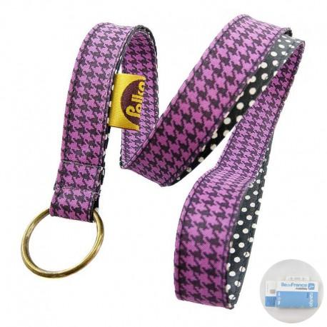 porte-badge-pied-poule-violet